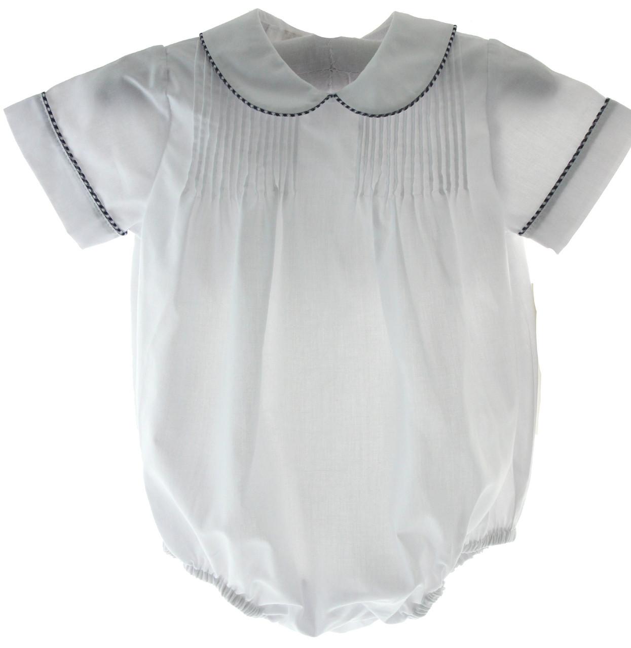 ca231b090 Boys White Bubble Outfit Peter Pan Collar Navy Blue Trim | Rosalina ...