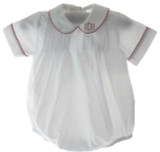 Boys White Bubble Red Trim Monogrammed