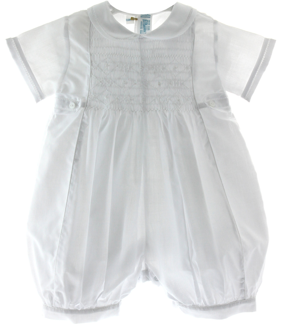 boys classic white christening outfit with smocking