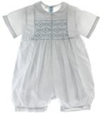 Feltman Brothers Boys White Christening Romper with Blue Smocking