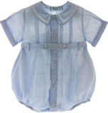 Infant Boys Blue Dressy Romper Belted with Pintucks
