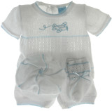Newborn Boys White Knit Layette Set with Airplane