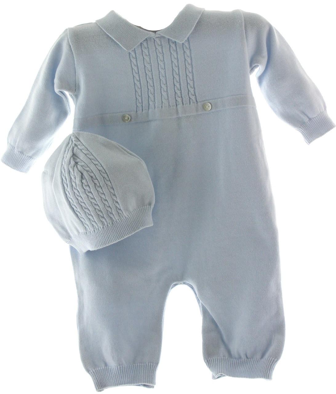0f66ccc351ba6 Baby Boys Blue Knit Long Sleeve Romper & Hat Set | Knit Layette Sets