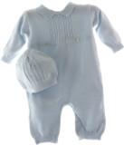 Baby Boys Blue Knit Take Home Romper & Hat Set