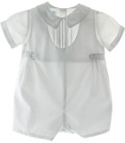 Boys White Baptism Christening Outfit with Side Tabs |Petit Ami