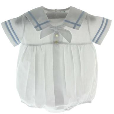 Newborn Boys White Sailor Outfit Blue Trim Feltman Brothers