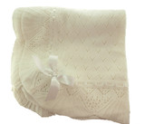 Ivory Knit Baptism Baby Blanket with Satin Ribbon