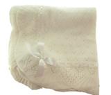 Ivory Christening Shawl Blanket Sarah Louise