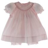 Girls Pink Portrait Dress & Bloomer Set