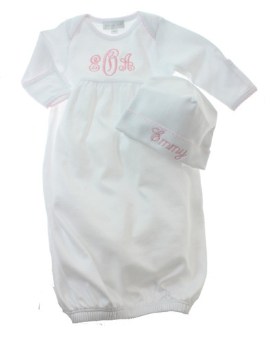 Magnolia Baby White Pink Monogrammed Gown