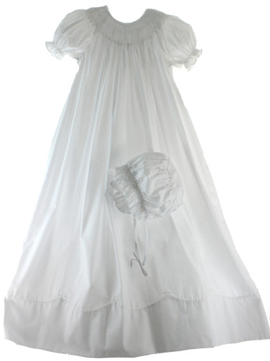 Girls White Smocked Christening Gown Petit Ami 5015