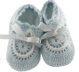 Baby Boys Blue Crochet Knit Baby Booties