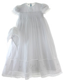 Girls White Smocked Baptism Christening Gown with Pearls
