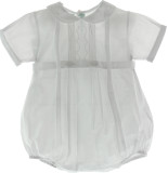 Infant Boys White Belted Christening Bubble Outfit with Collar
