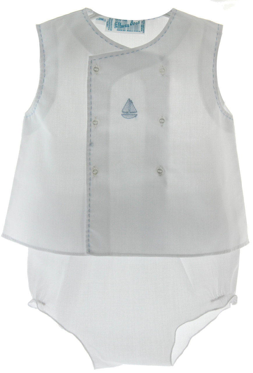 47ce8847086f ... Feltman Brothers Baby Boys White Sleeveless Sailboat Diaper Set.  Loading zoom