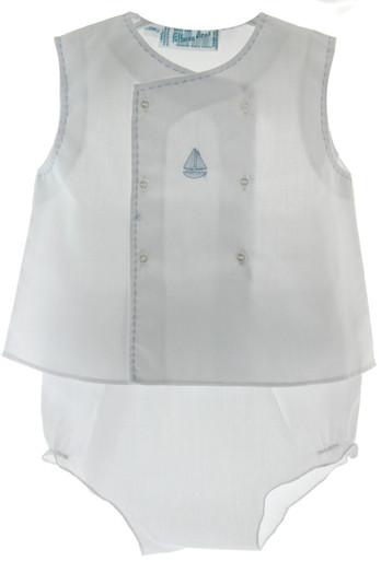 White Sailboat diaper Set
