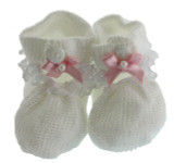 Girls White & Pink Crochet Baby Booties Willbeth