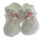 Girls White & Pink Crochet Baby Booties Willbeth