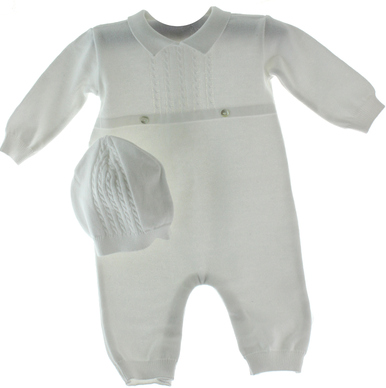 Infant Boys White Knit Take Home Outfit Hat Set