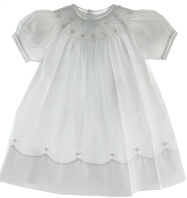 Girls White Smocked Bishop Dress With Pearls Feltman
