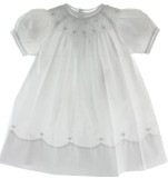 Girls White Smocked Bishop Dress with Pearls
