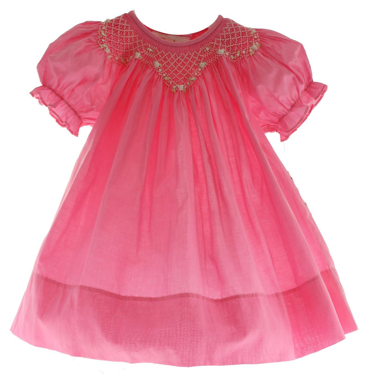 fd106d14c Girls Hot Pink Smocked Bishop Dress Rosalina - Hiccups Childrens ...