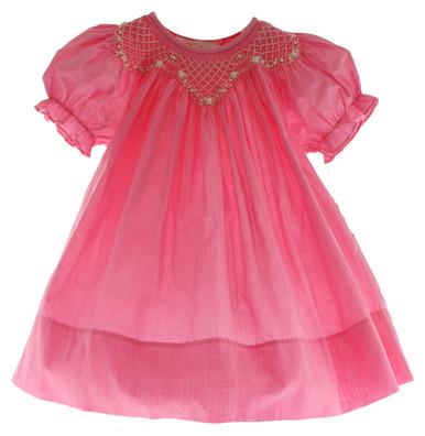 Infant Toddler Girls Fuchsia Pink Smocked Dress