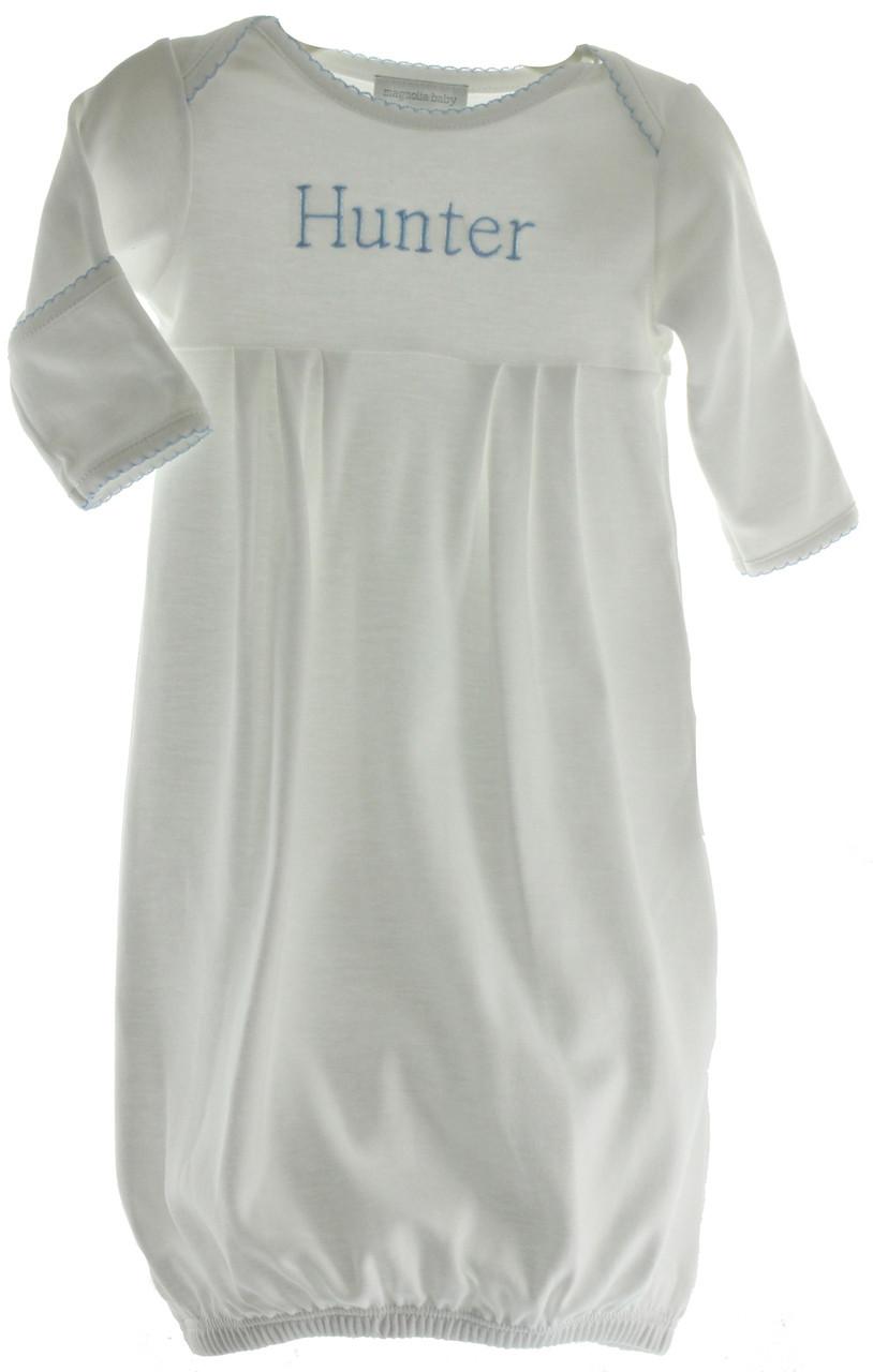 monogrammed gown for newborn boy