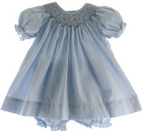 Baby Girls Blue Gingham Smocked Bishop Dress