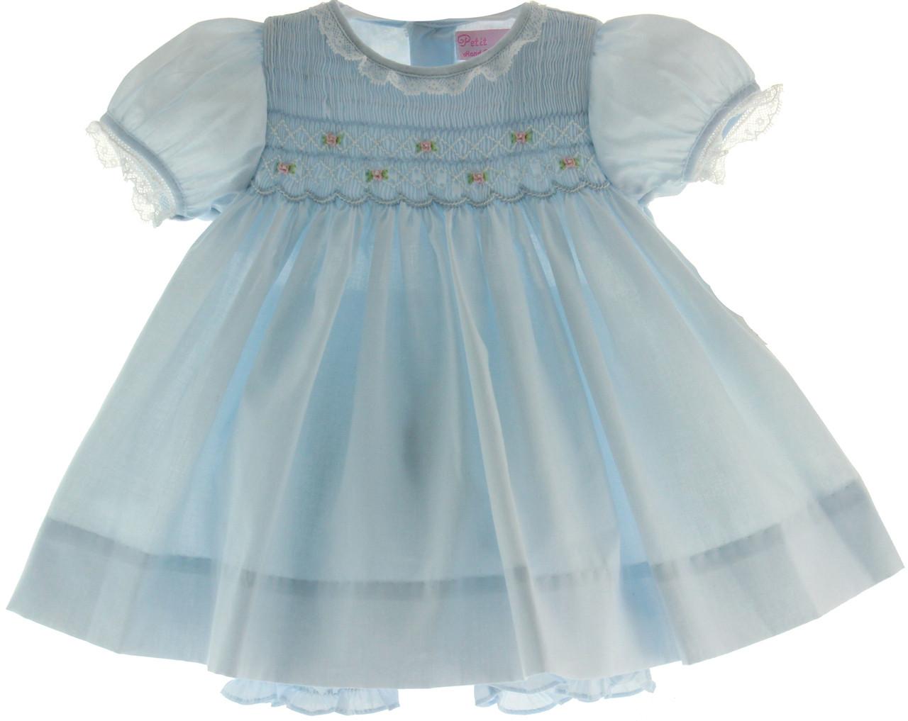 Infant Girls Blue Smocked Portrait Dress & Bloomer Set ...