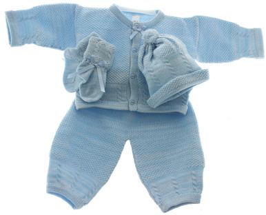 Newborn Blue Knit Pant Set