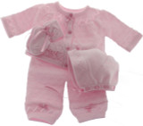 Pink Knit Layette Set with Hat
