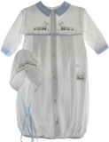 White Blue Layette Gown with Train