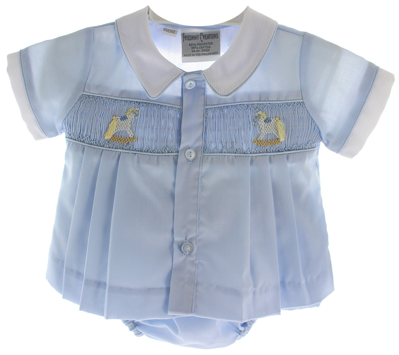 fdfeaac9 Home · Preemie Baby Clothes; Preemie Diaper Set for Boy with Rocking Horses  | Friedknit Preemie Clothes. Loading zoom