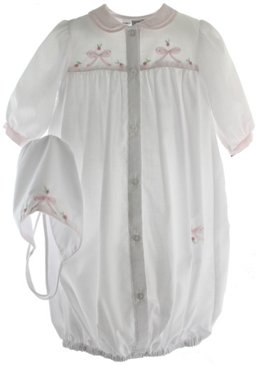 White & Pink Layette Gown & Hat