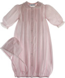 Newborn Girls Pink Take Home Gown Bonnet Set Lace Trim - Feltman Brothers