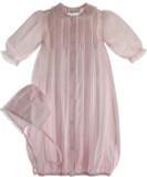 Newborn Girls Pink Layette Gown Bonnet Set Lace Trim - Feltman Brothers