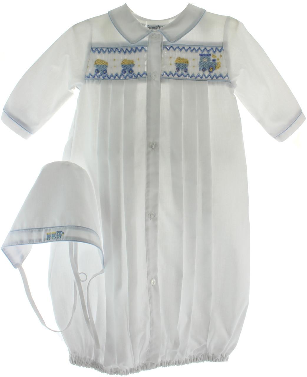 b069924935687 Newborn Boy Take Home Outfit White Gown Blue Train Smocking & Bonnet