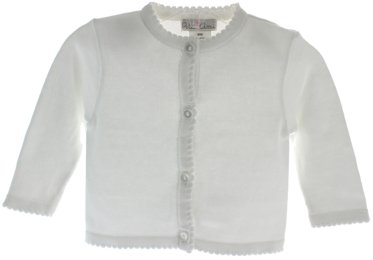 739507bdf Infant Girls White Cardigan Sweater Scallop Trim - Petit Ami ...