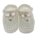 Infant Girls White Crochet Baby Booties with Pink Flower