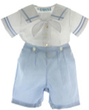 Boys Blue White Sailor Bobbie Suit