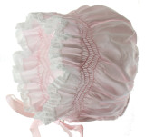 Feltman Brothers Baby Girls Pink Smocked Bonnet Lace Trim