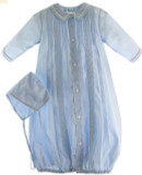 Newborn Boys Blue Heirloom Gown & Bonnet Layette Set - Feltman Bros