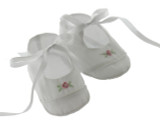 Feltman Brothers Baby Girls White Booties with Rose
