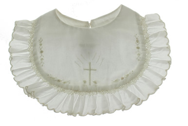 Girls Ivory Christening Bib