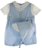 Newborn Boys Blue Gingham Romper with White Shirt | Petit Ami