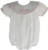 Girls Bubble Outfit White with Pink Trim Round Monogrammable Collar