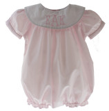 Baby Girls Pink Monogram bubble Outfit Round Collar