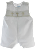 Boys White Hand Smocked Baptism Romper with Cross Smocking