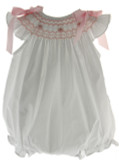 Baby Girls White Bubble Pink Smocking